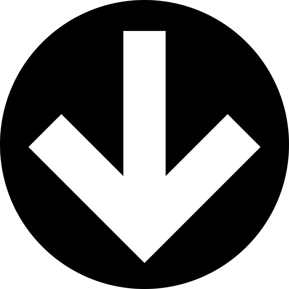 Down Arrow In Circular Filled Button
