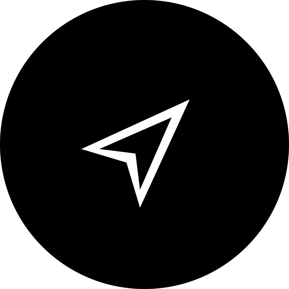 Arrow Or Paper Plane Shape In Black Circular Button