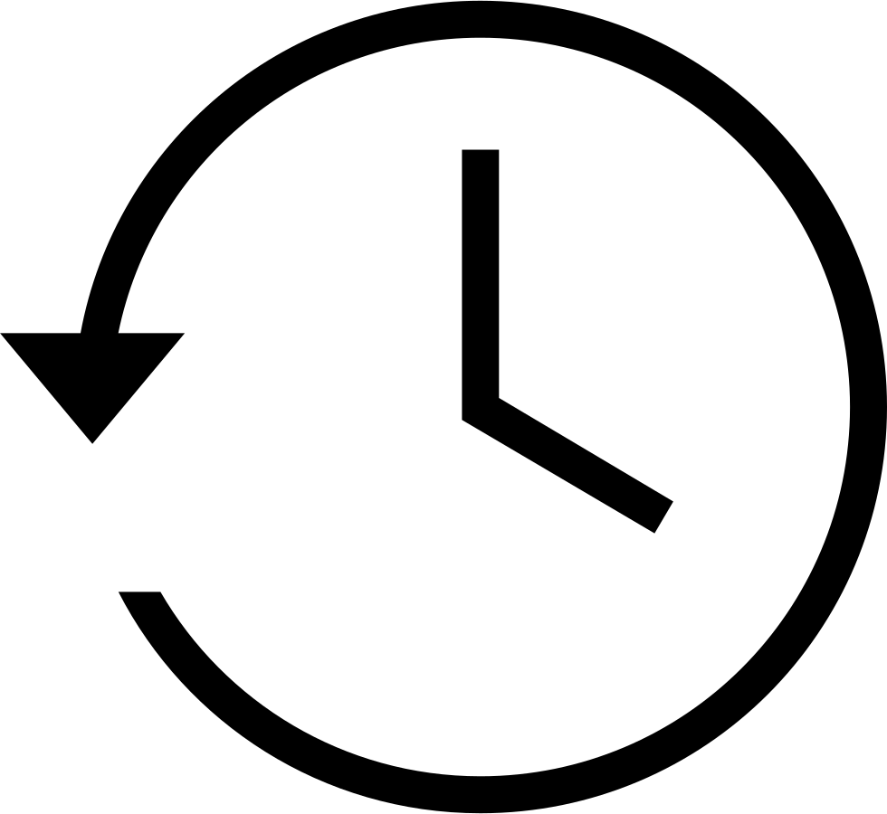 Clock Symbol With Counterclockwise Back Circular Rotating Arrow Around