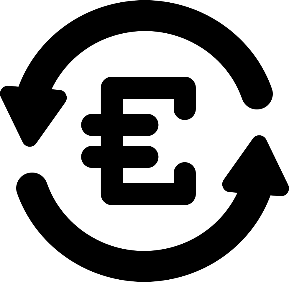 Euro Currency Sign In Counterclockwise Arrows Circle