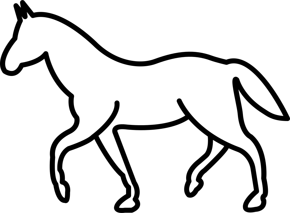 White Walking Horse Outline