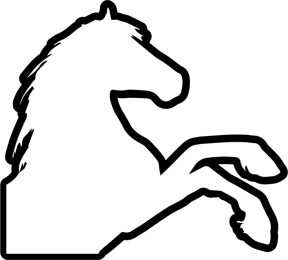 Horse Raising Feet Outline Right Side View