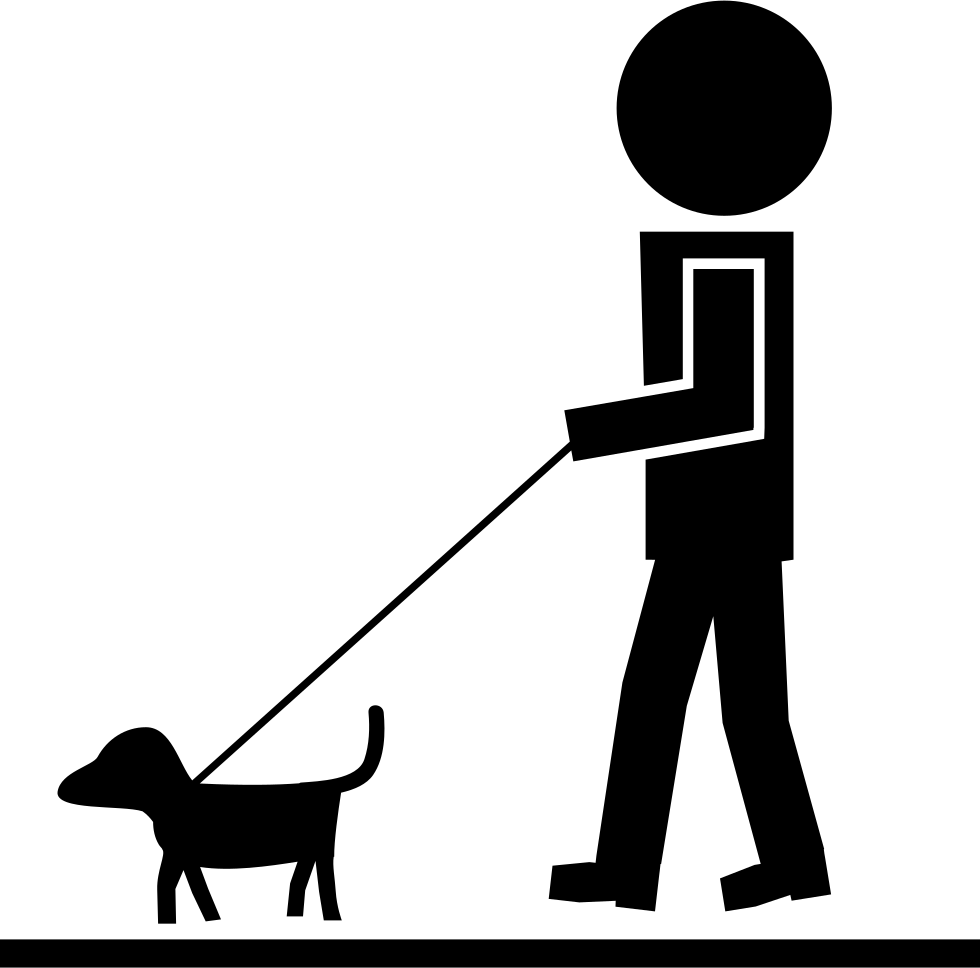 Man Walking With Pet Dog And A Cord