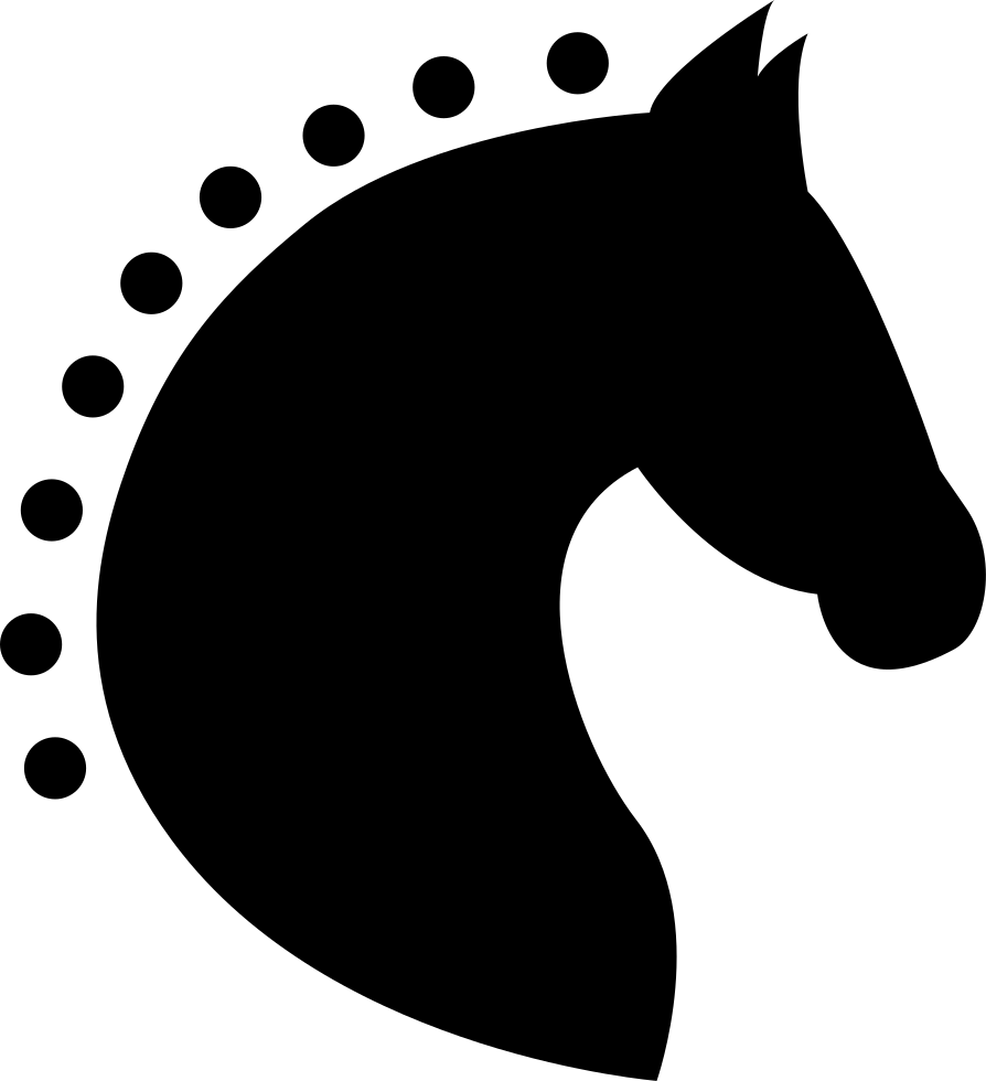 Head Horse Silhouette Side View With Horsehair Of Dots