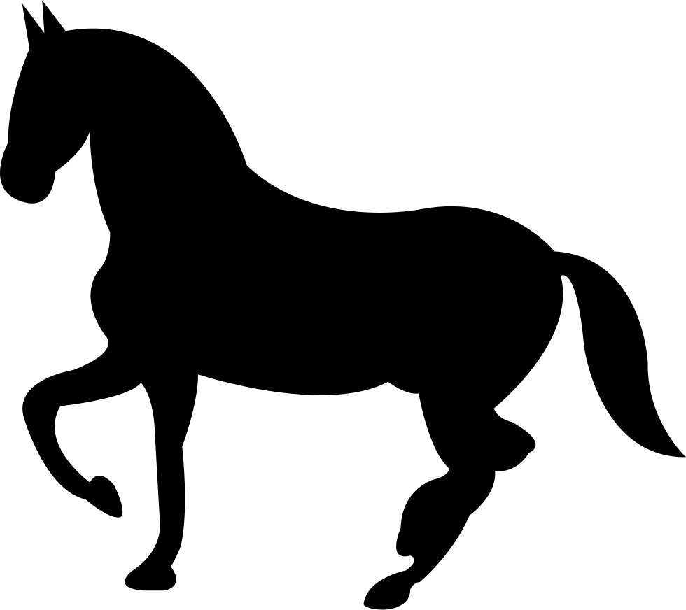 Dancing Black Horse Shape Of Side View