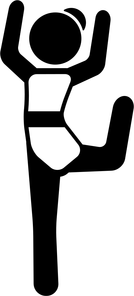 Girl With Bended Leg And Arms Up