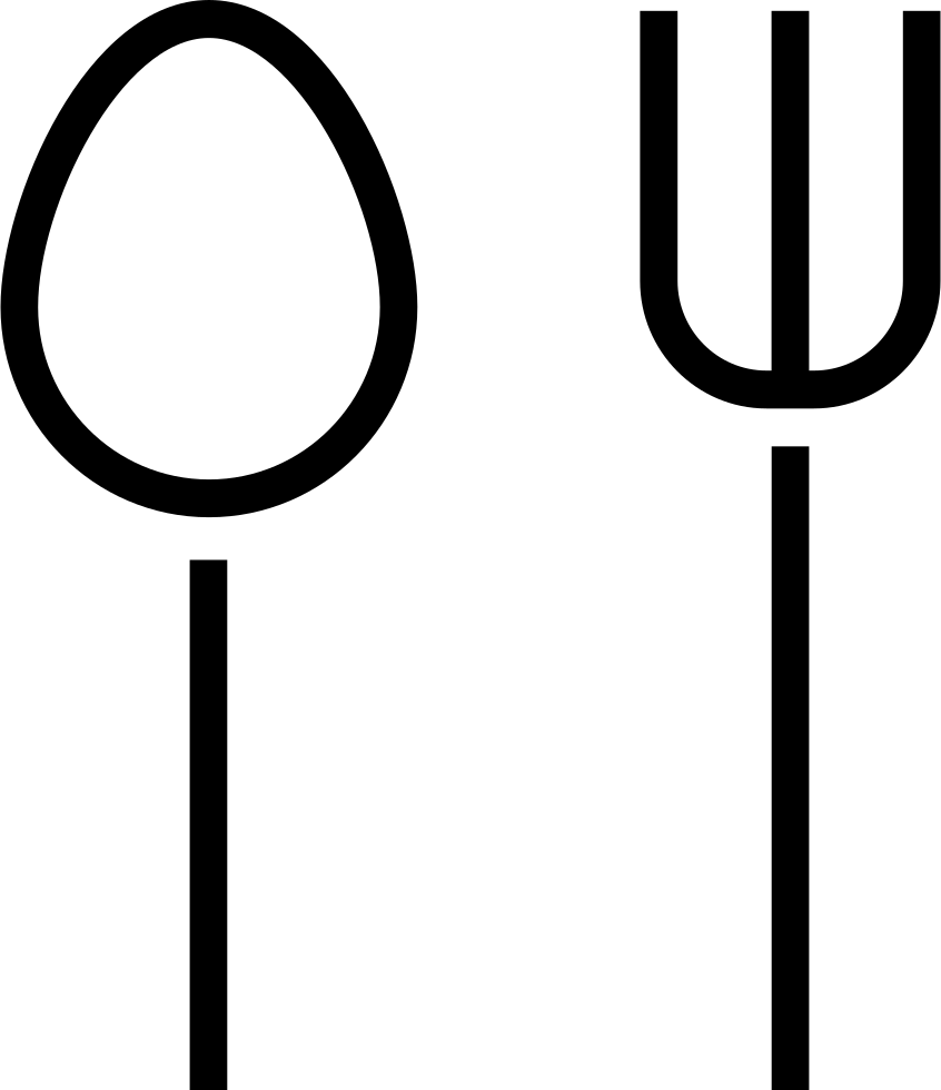 Restaurant Symbol Of A Spoon And A Fork Couple