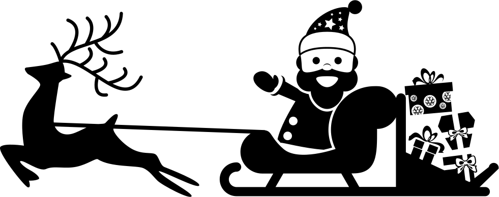 Santa Claus On His Sled Carried By A Reindeer