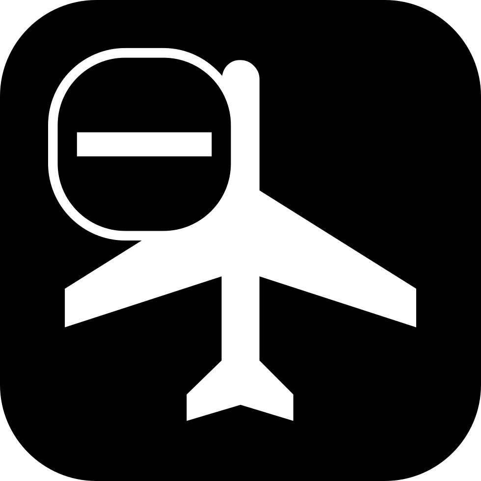 Passengers Airplane Top View With A Minus Sign In A Rounded Square