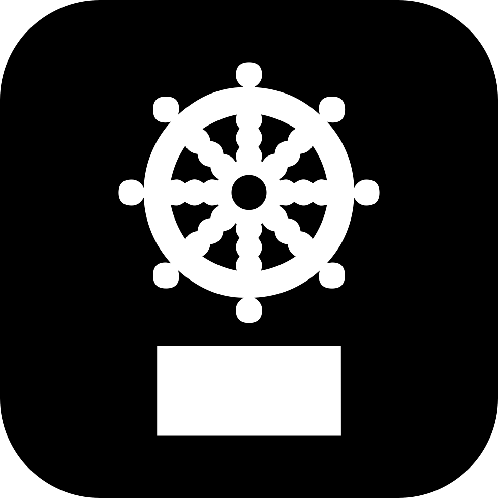 Captains Wheel Symbol On Square Background