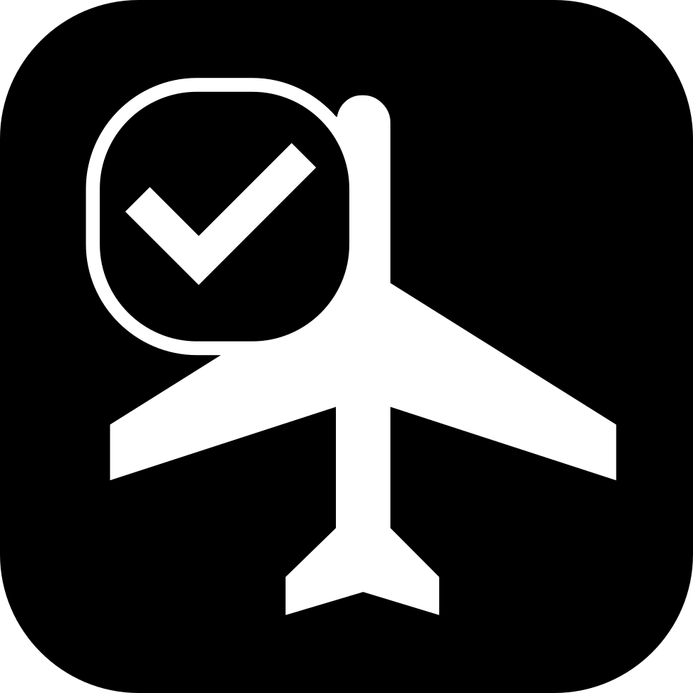 Commercial Airplane Symbol With Check Mark